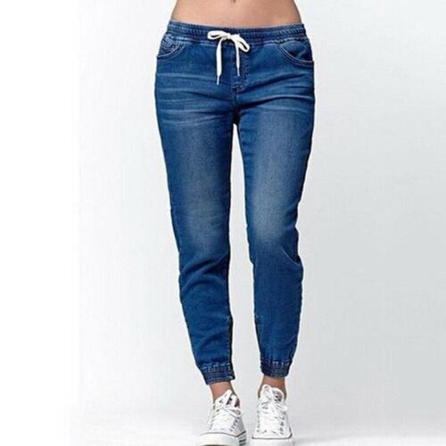 Mesdames Denim Pantalon femme avec cordon de serrage Taille Élastique Ourlet Jeans Pantalon T3