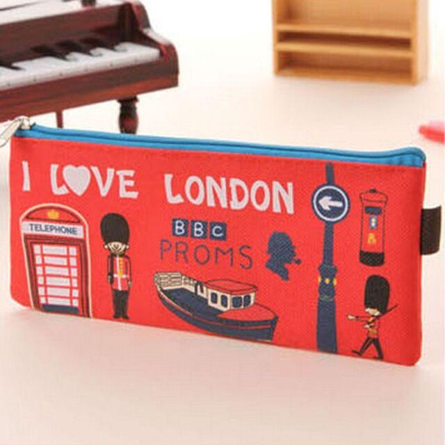 LONDON Style Canvas Pen Pencil Case Cosmetic Makeup Pouch Purse Coin Zipper Bag