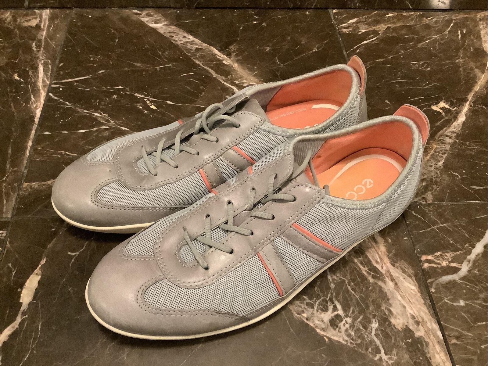 Ecco Chaussures Femme En Cuir Grise Lacets Mode Confort Marche Baskets 38 Taille 7.5 US