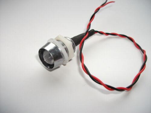 10mm Blu LED 12V con Chrome Lunetta Luminoso Lampeggiante Rosso Grande