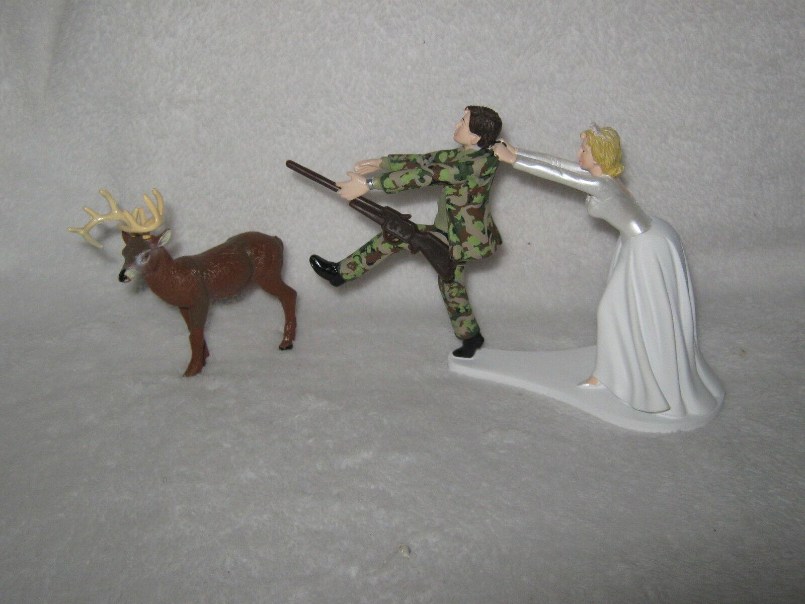 Wedding Reception Party Camo Running Groom Deer Hunter Hunting Cake Topper