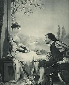ANTIQUE CHATEAU GARDEN POESIE POESY READING POETRY ROMANCE PRETTY WOMAN  PRINT
