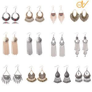 Women-Bohemian-Boho-Style-Multicolor-Beads-Tassel-Charm-Dangle-Vintage-Earrings