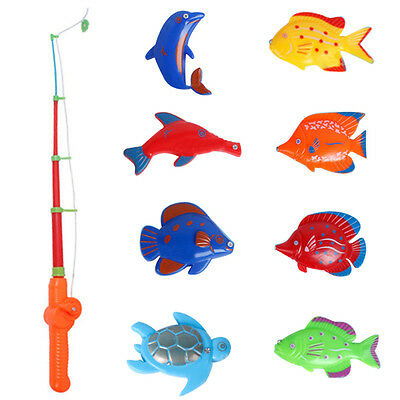 Educational Fish Pond Game Magnetic Fishing Pole Rod 8 Fish Model Set Kid Toy