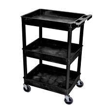 Utility Cart With Wheels Kitchen 3 Tier Rolling Shelf Heavy Duty On Push 4 Luxor