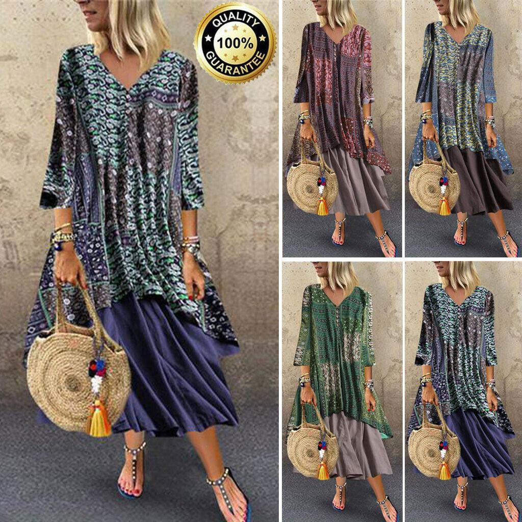 Womens Boho Casual Baggy Vintage Kaftan Long Sleeve Cotton Linen Maxi Dress Plus