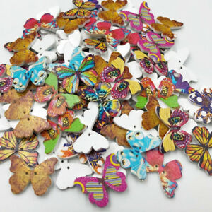 New-50-100-500pcs-Mix-Print-Butterfly-Sewing-Craft-2-Holes-Wood-Buttons-W175