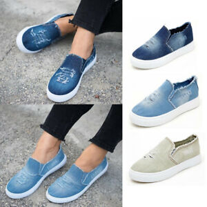 WOMENS-FLATS-SLIP-ON-PUMPS-DENIM-CANVAS-CASUAL-SHOES-LOAFERS-SUMMER-TRAINERS-NEW