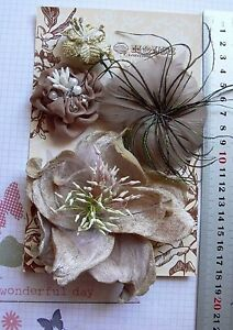 MOCHA-Feather-Facinator-amp-GOLD-Organza-4-Flower-Pk-appr-30-110mm-Manor-House