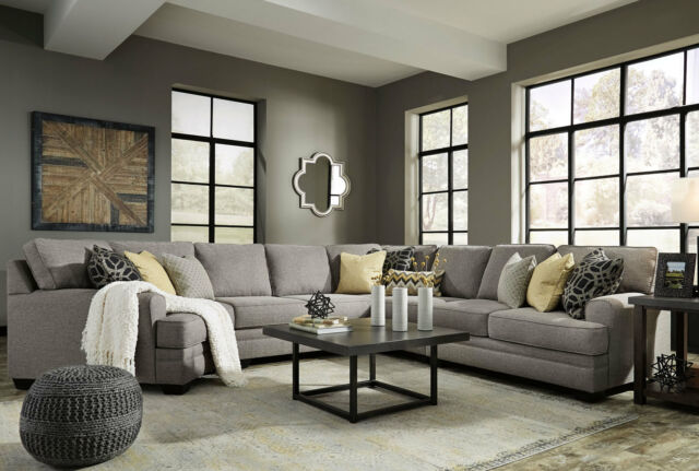 MERIDA Large Sectional Living Room Set NEW Modern Gray Microfiber 5pc Sofa  Couch