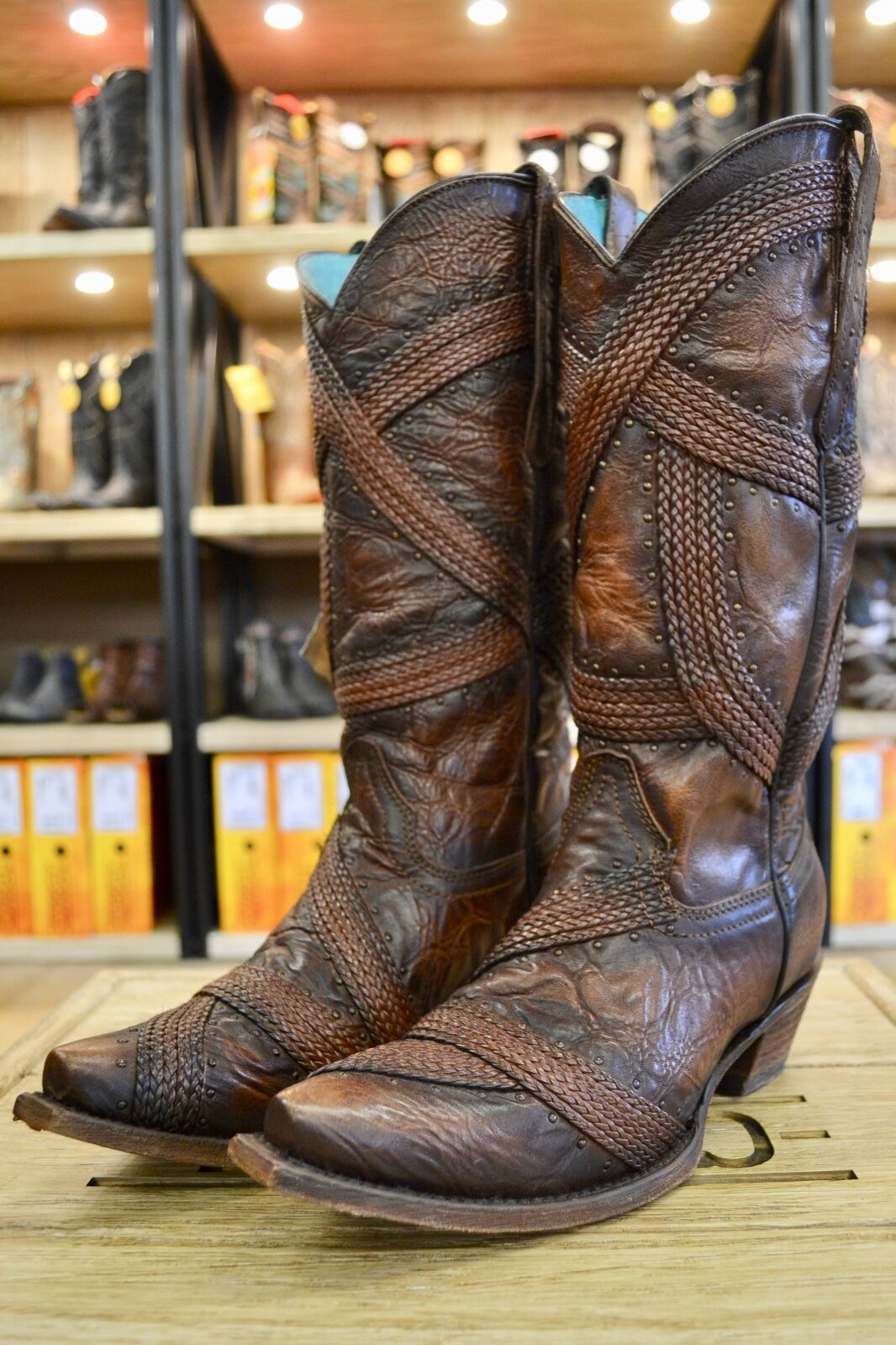 Corral Ladies Brown Braided Braided Braided Studded Snip Toe Cowgirl Boots C3179 LAST PAIRS SALE deb1b6