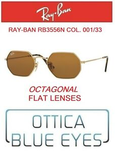 4ce953383e Image is loading RAYBAN-Sunglasses-rb3556n-001-33-Octagonal-Flat-lenses-