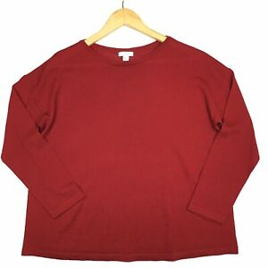 J-Jill-Scoop-Neck-Top-Medium-Petite-Red-Solid-Long-Sleeve-Casual-100-Wool