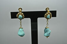 Vintage Chinese filigree natrual turquoise dangle earrings
