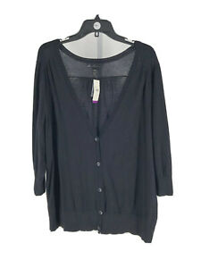 Lane-Bryant-Women-039-s-Black-3-4-Sleeve-Button-Down-Cardigan-Size-22-24-Plus-NEW