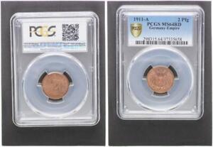 2 Pfennig J.11 1911 A Mint State Kupferpatina PCGS MS64RD (37473)
