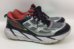 uk availability 11ab3 026bc Details about Hoka One One Clifton 2 Black Gray Orange Men's Running Shoes  Size 9.5
