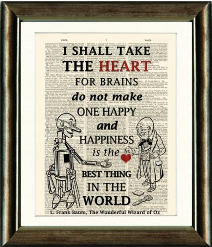 ANTIQUE BOOK PAGE ART PRINT TIN MAN HEART QUOTE 2 WIZARD OF OZ Wall Art