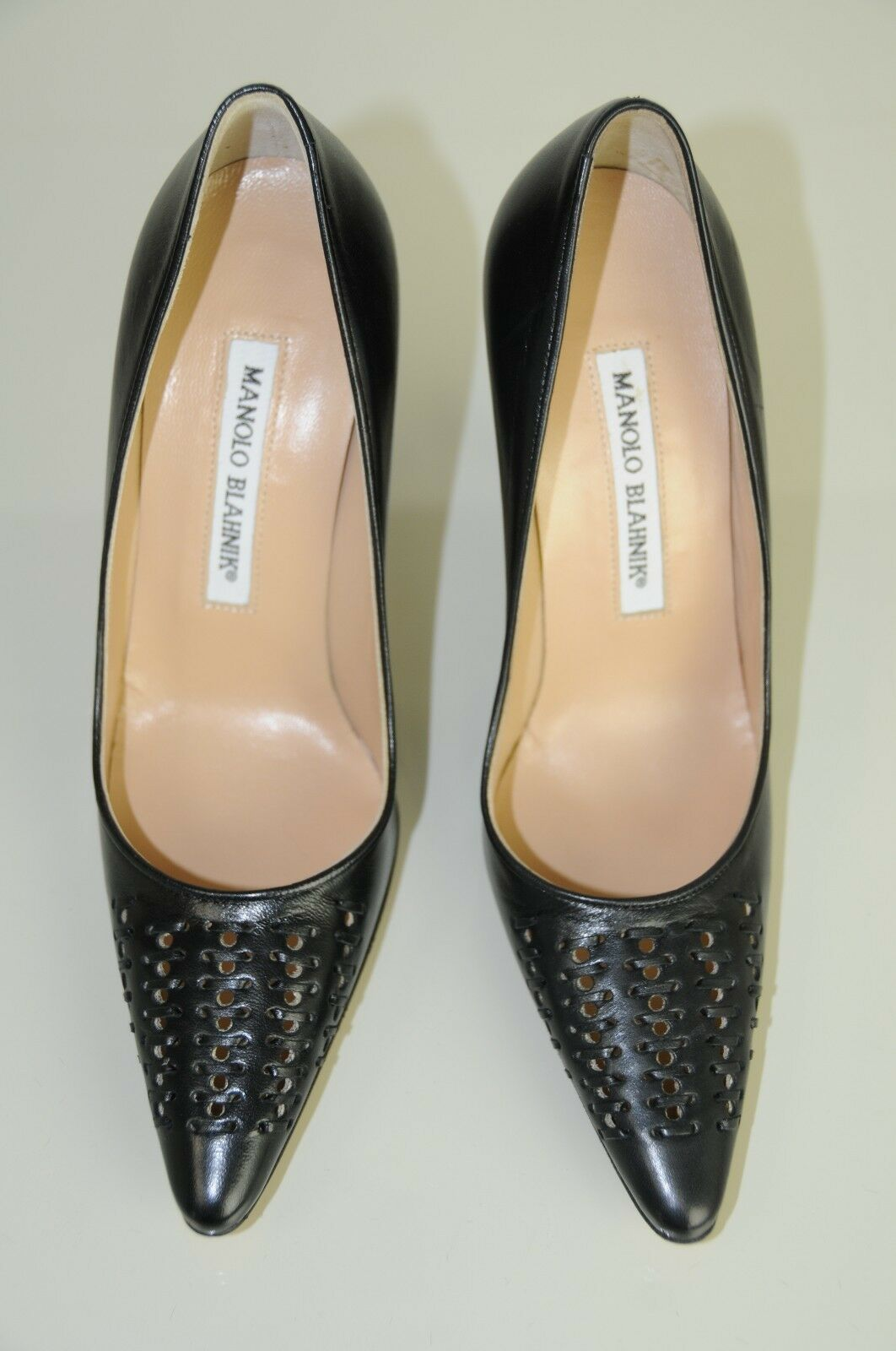 New Manolo Blahnik Straw BB Black Nude Insole Insole Insole shoes Heels 105 Pumps 35.5 5 b3faf6