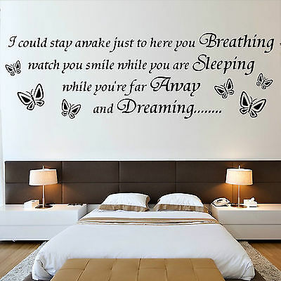 AEROSMITH Song quote I COULD STAY AWAKE BUTTERFLY vinyl wall art sticker decal
