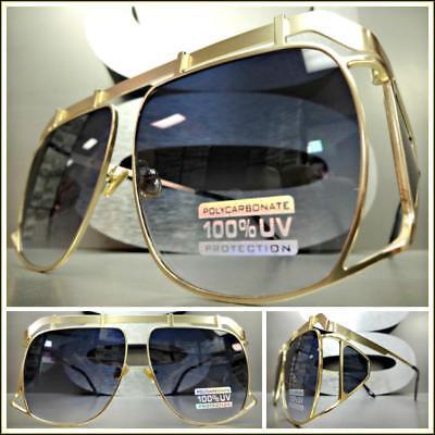 Oversized Vintage Retro Luxury Designer Style SUN GLASSES Large Matte Gold Frame