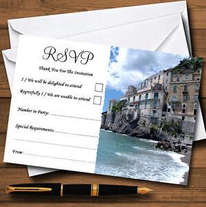 Costa de Amalfi Italia Corazón Personalizado Boda O Fiesta RSVP Tarjetas