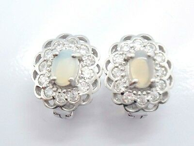 Ohrringe Opal & Zirkonia 925 Sterling Silber