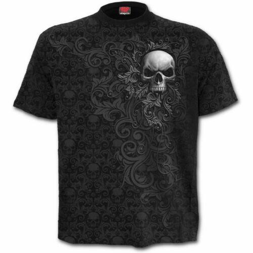 Spiral Direct-crâne parchemin Allover T-shirt//SOUL//horreur//CRANES//Noir//Métal