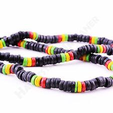Halskette aus Holzperlen in schwarz und Rasta-Farben NEU elastisch Halsband