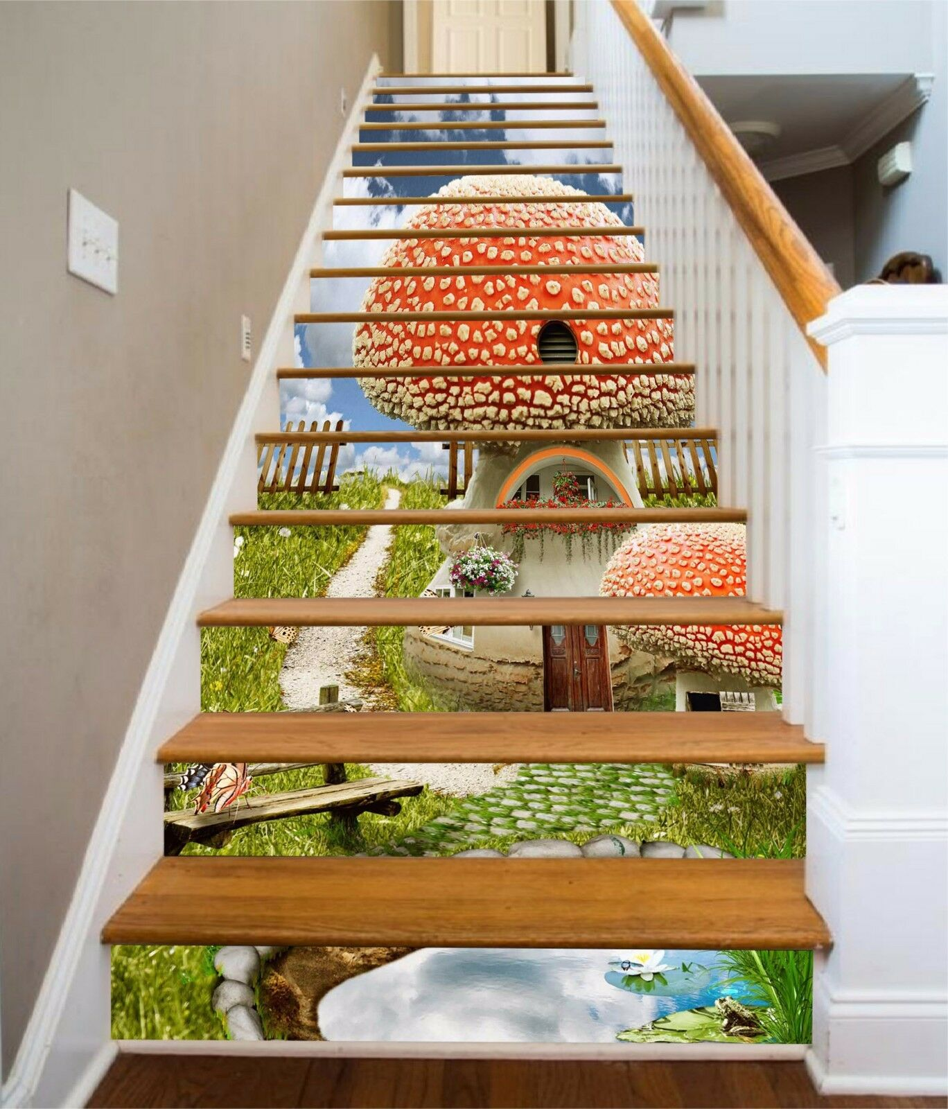 3D Mushroom lawn Stair Risers Decoration Photo Mural Vinyl Decal Wallpaper AU