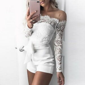 SEXY-Womens-Off-Shoulder-Bodycon-Jumpsuits-Long-Sleeve-Lace-Playsuits-Shorts-US