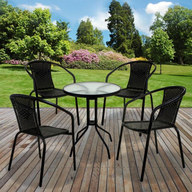 Jay Black Wicker Outdoor Bistro Set, Black Wicker Outdoor Furniture Sets