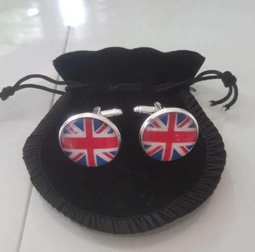Union Jack UJ Round Cufflinks National British Flag Vintage Dress Shirt