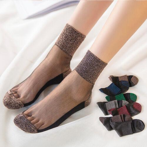Women Girls Crystal Transparent Clear Ultrathin Glitter Mesh Short Ankle Socks