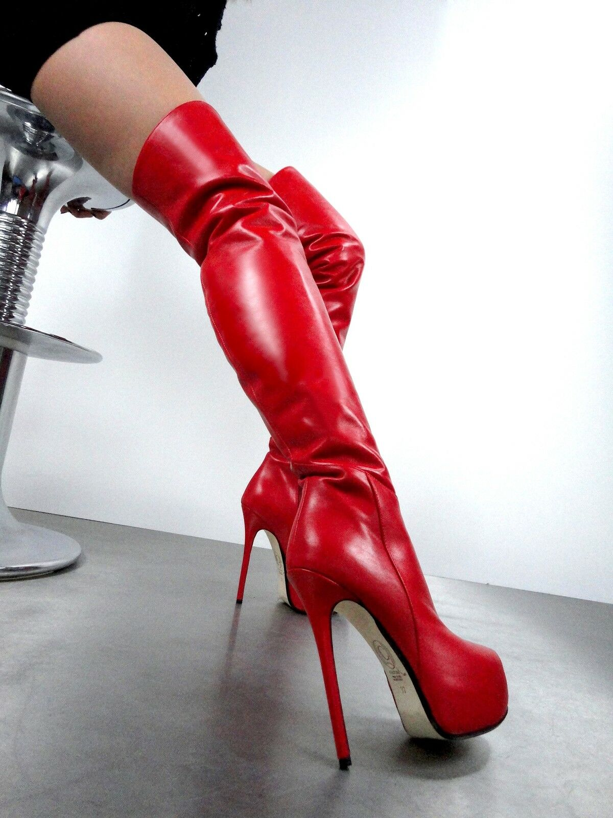 CQ COUTURE OVERKNEE CUSTOM PLATFORM BOOTS STIEFEL STIVALI LEATHER RED ROSSO 44