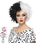 Evil Madame Cruella De Ville Wig Black & White Ladies Womens Fancy Dress New