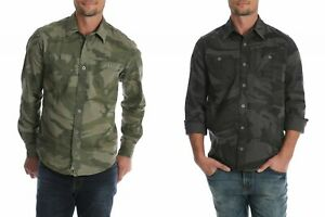 New-Wrangler-Premium-Slim-Fit-Stretch-Shirt-All-Men-039-s-Sizes-Green-Camo-Grey-Camo