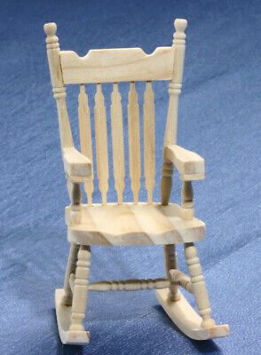 Dollhouse Miniature Rocking Chair Classic Ladderback 1:12 Scale Unfinished