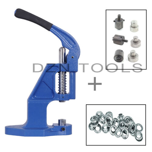 Grommets Hand Press and 6 Self Piercing Dies and 1250 Eyelets Starter Set