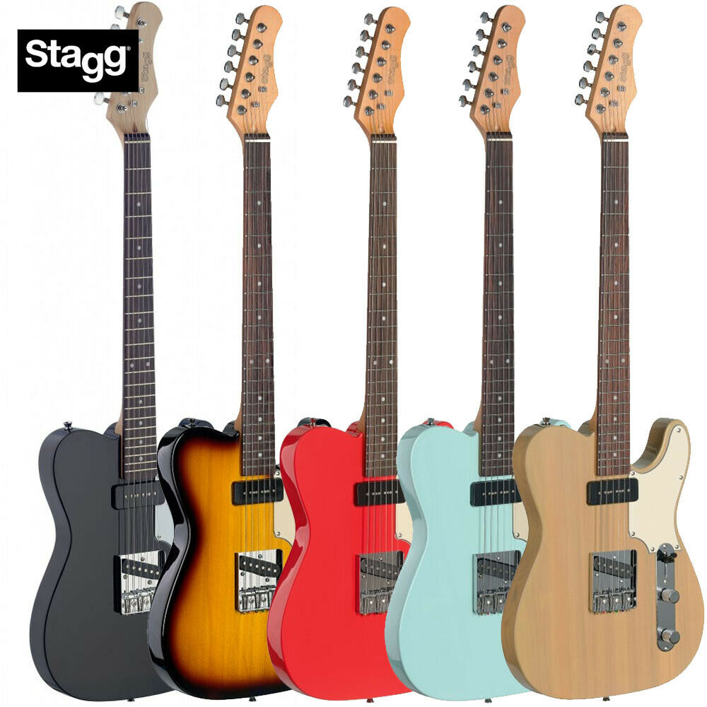 Stagg SET-CST Vintage T Style Classic Electric Guitar - 5 FarbeS w  D'Addario