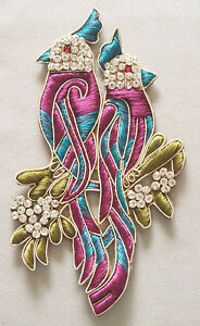 Hand-Stitched-Applique-with-Parrots-Orchid-Turquoise-Olive-Hand-Embroidered