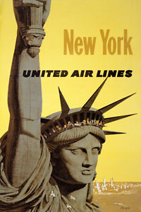 TX34 Vintage NEW YORK America USA Air Lines Travel Poster A4
