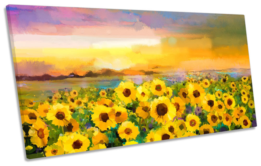 SUNFLOWER giallo SUNSET REPRO panoramico a muro opera d'arte art print