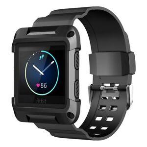 Armband-fur-Fitbit-Blaze-Schutzhulle-mit-elastischem-Strap-Ersatzbander-Schwarz