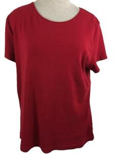 Croft Barrow Classic Tee T knit top Size L large short sleeve solid red cotton