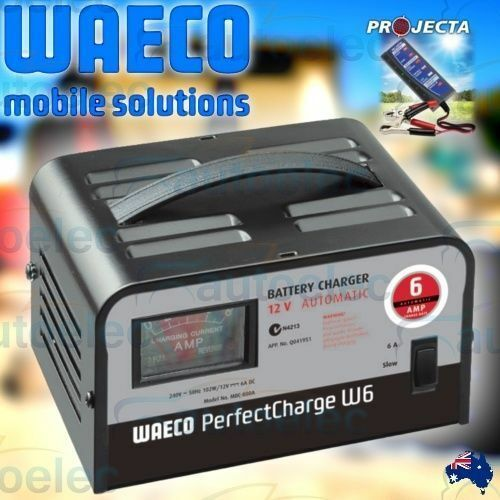 WAECO W6 12V VOLT AUTOMATIC BATTERY CHARGER 6A AMP AGM SLA NEW + PROJECTA BT100