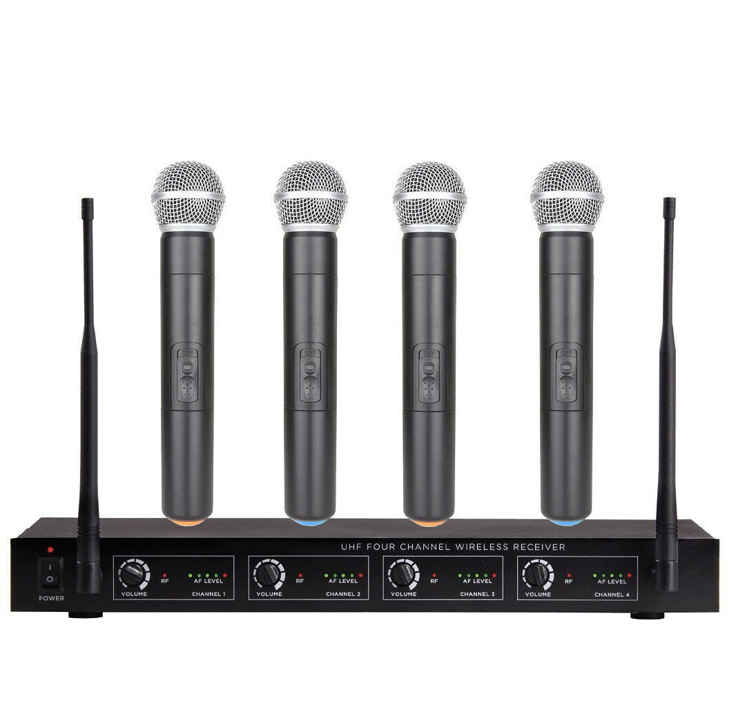 4 Channel UHF Wireless Microphone System Karaoke Handheld Microphone mic Set 4