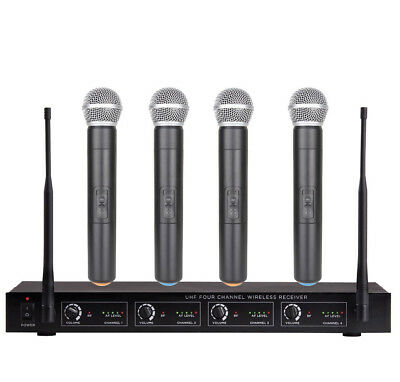 4 channel wireless microphone mike system for shure wireless 4 handheld mics 699930069357 ebay. Black Bedroom Furniture Sets. Home Design Ideas