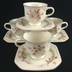 Set-of-4-VTG-Cups-and-Saucers-by-Mikasa-Continental-Ivory-Tivoli-Garden-Japan
