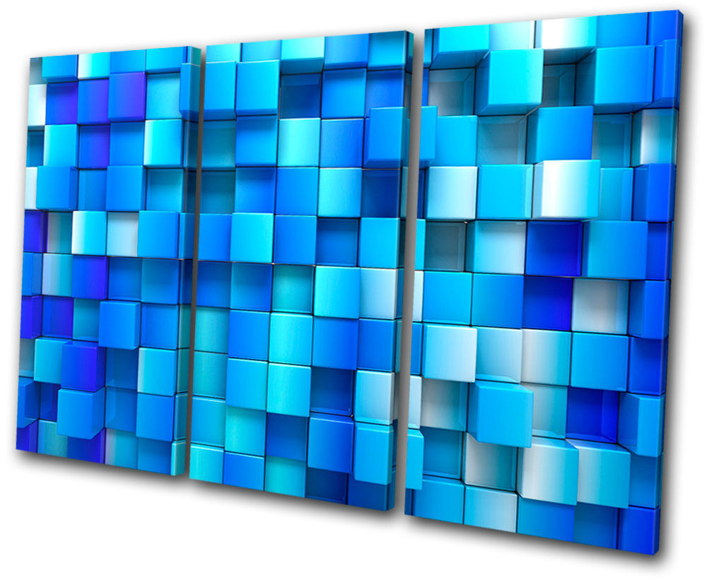 Abstract Squares Design TREBLE Leinwand Wand Kunst Bild drucken